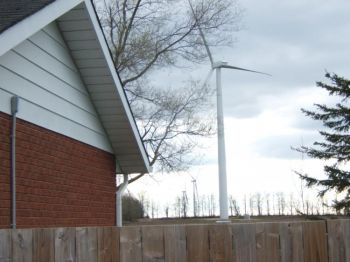 A wind turbine sits 457 metres from Barbara Ashbee's home at the Melancthon/Amaranth wind farm in Ontario.