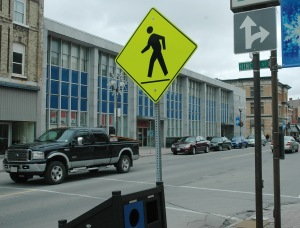 Hincks and Talbot streets at one of the city's uncontrolled courtesy crossings. St. Thomas city council approved a pilot project for spring that will add new signs telling both pedestrians and motorists that vehicles have the right-of-way at such crossings.