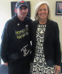 Homeless advocate Jason McComb with Ontario PC leadership candidate Christine Elliott.