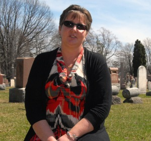 Lesley Buchanan at West Ave. Cemetery.