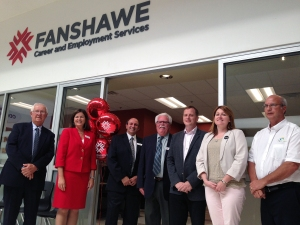 Fanshawe College representatives Bruce Babcock, left, Susan Cluett, Mike Amato and Ross Fair pose with MPP Jeff Yurek, Mayor Heather Jackson and Elgin County Warden Paul Ens at the grand opening of the Fanshawe Career and Employment Services office in Elgin Mall.
