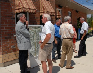 Members of the public look at plans for the expansion of the L&PS railway corridor after $166,667 in federal funding was announced for the project. It's exepcted to be completed by 2017, in time for the 150th anniversary of Confederation.