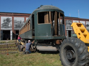London & Port Stanley Railway motorcar 14 outside the Elgin County Railway Museum.