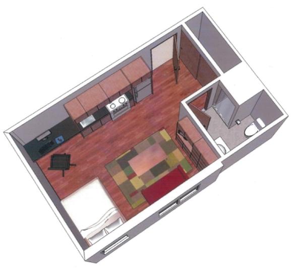 Transit station micro apartment rendering