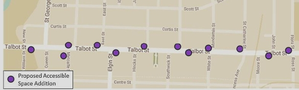 Talbot Street handicap parking locations